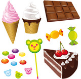 sweet food,chocolate,ice cream and bonbon
