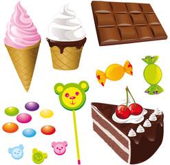 sweet food,chocolate,ice cream and bonbon