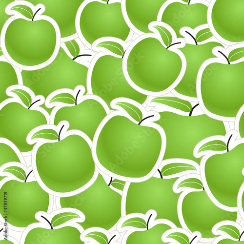 Fresh green apples seamless background