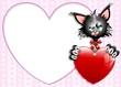 Gatto Innamorato S.Valentino Sfondo-Cartoon Cat in Love-Vector
