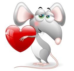 Topo con Cuore S.Valentino-Cartoon Cat in Love-Vector
