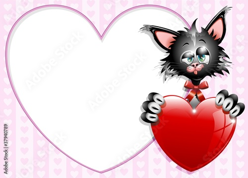 Gatto Innamorato S.Valentino Sfondo-Cartoon Cat in Love-Vector