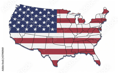 USA map with state borders.