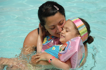 Happy mother and child in pool