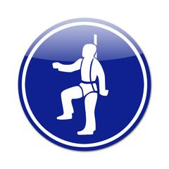Señal arnes seguridad para trabajo en altura