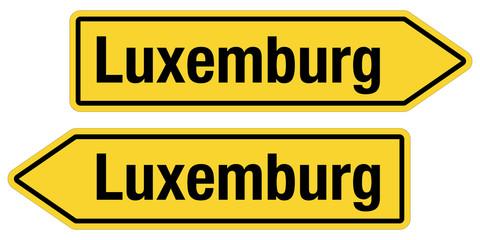 2 Pfeilschilder gelb LUXEMBURG