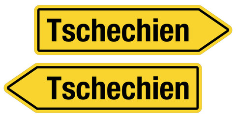 2 Pfeilschilder gelb TSCHECHIEN
