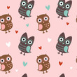 Valentine seamless texture with owls and hearts