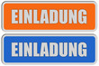 2 Sticker orange blau rel EINLADUNG