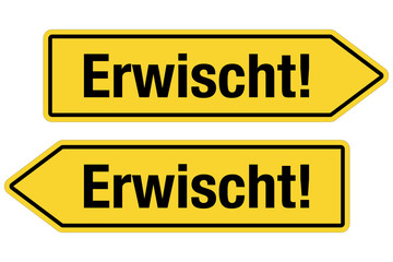 2 Pfeilschilder gelb ERWISCHT!