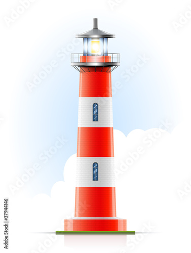 lighthouse marine signal vector illustration
