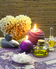 bath accessories and lavender aromatherapy