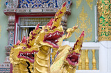 Tri heads Dragon idol in Buddhism temple poster