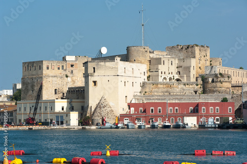 the Swabian castle in the western bosom of the inner harbor in Brindisi, Italy