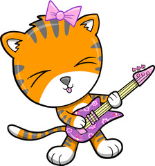 Rock Star Tiger Vector Illustration