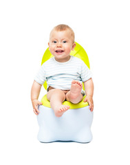 The boy sits on a chamber pot