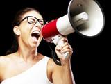 woman shouting using a megaphone