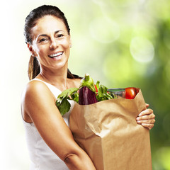 woman with a groceries bag