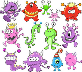 Cute Monster Alien Vector Elements Set