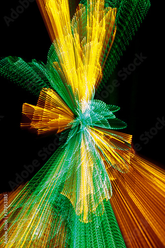 Yellow and green light burst