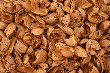 Almond shells background