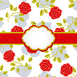 Seamless wallpaper pattern with roses, greeting card template