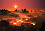 Volcanic fantasy landscape with lava fields