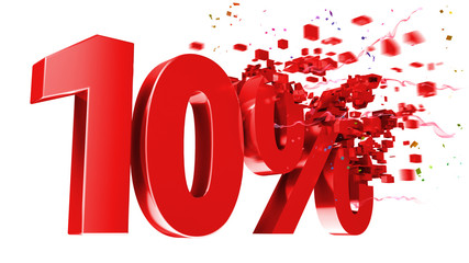explosive 10 percent off on white background