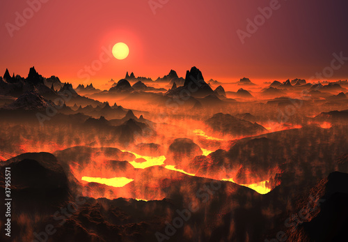 Volcanic fantasy landscape with lava fields - 37955571