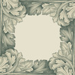 vintage border frame engraving with retro pattern