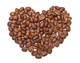 heart made ​​from coffee beans on white background