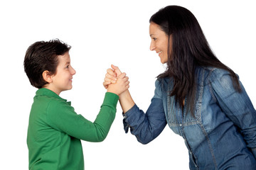 Adorable mother and her son making a handshake