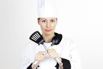 Köchin mit Kochgabel