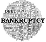 Bankruptcy concept in word tag cloud poster