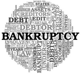 Bankruptcy concept in word tag cloud