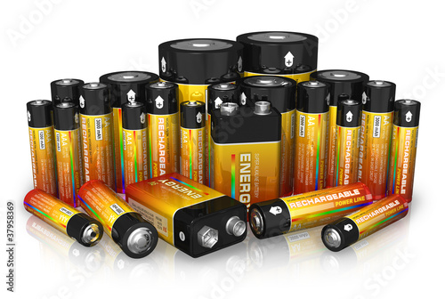 Group of different size batteries - 37958369