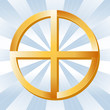 Native American Spirituality Symbol, Golden Medicine Wheel.