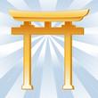 Shinto Symbol, Golden Torii Gate, Icon of Shinto faith.