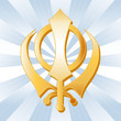 Sikh Symbol, Golden Khanda, Icon of the Sikh faith.