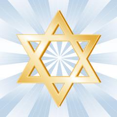 Judaism Symbol, Golden Star of David, Icon of the Jewish faith.