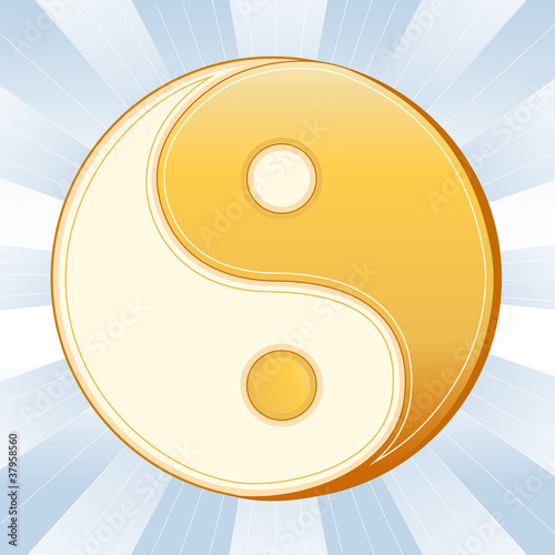 Taoism Symbol, Golden Yin Yang Mandala, Icon of the Tao faith.