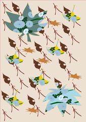 秋の模様 fallen leaf 紅葉 イチョウ 松