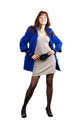 full length shot of woman in blue coat