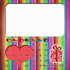 Calendar 2012 with valentine's day