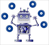 Blue robot toy with Vinyl records