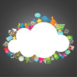 Cloud, colorful icons, dark background