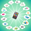 Smartphone, colorful icons, clouds, communication II