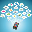 Smartphone, colorful icons, clouds, communication
