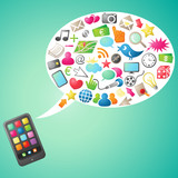 Smartphone, colorful icons, communication