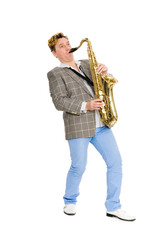 Man playing the saxophone.
